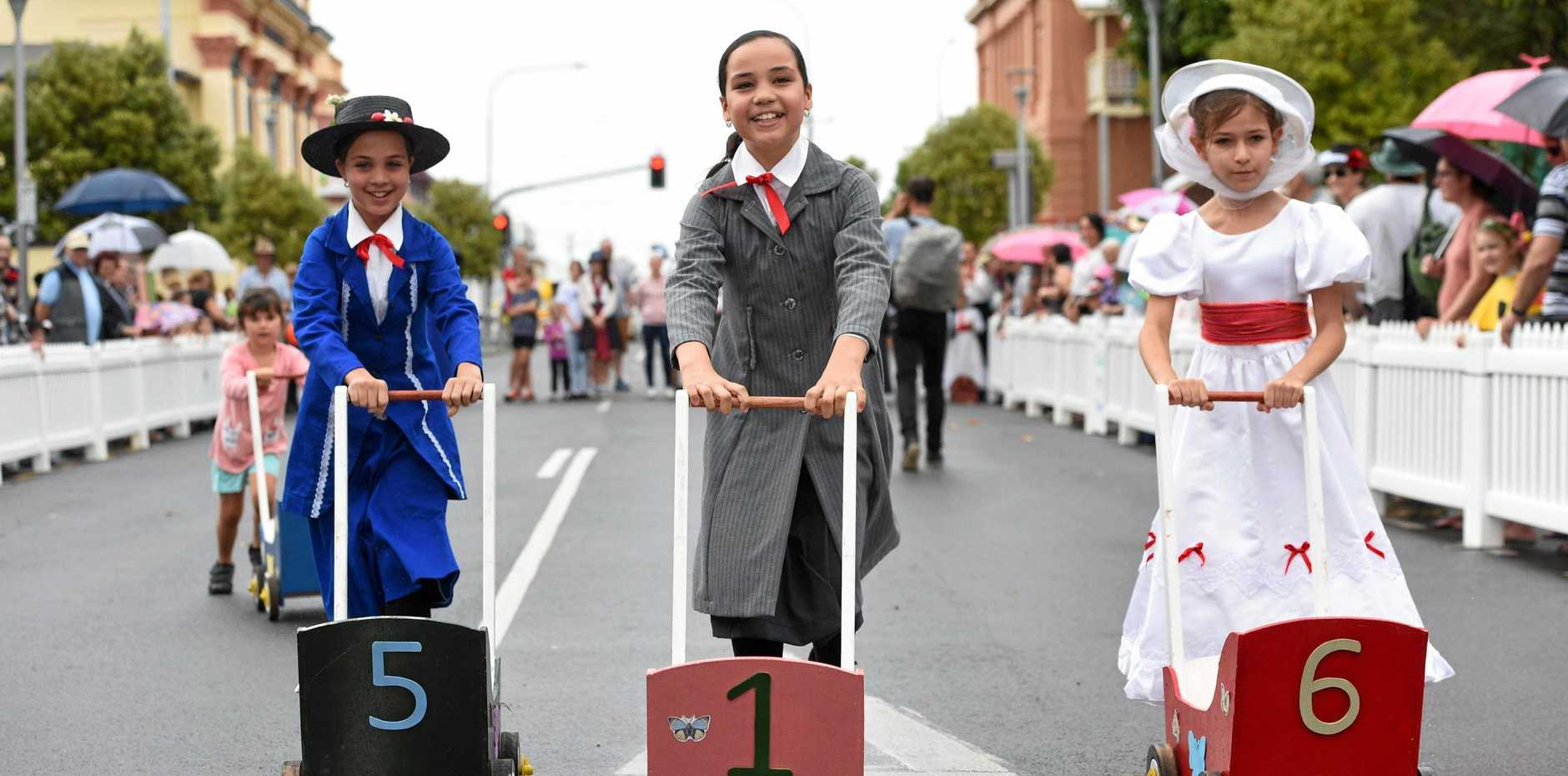 DRESSED TO RACE: Kiah, Aaliah and Kayli Skuse (from left) from Maryborough in last year's Mary Poppins Festival nanny race.