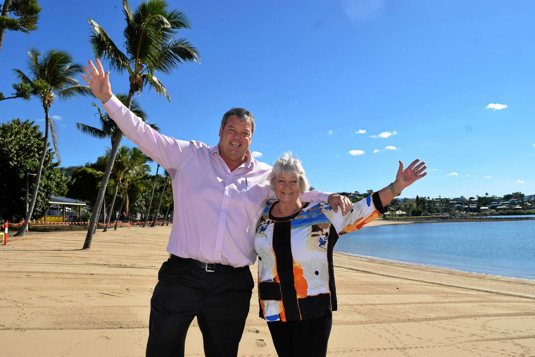 YOU BEAUTY: Mayor Andrew Willcox and Cr Jan Clifford are ready for the Foreshore Fiesta this Saturday,