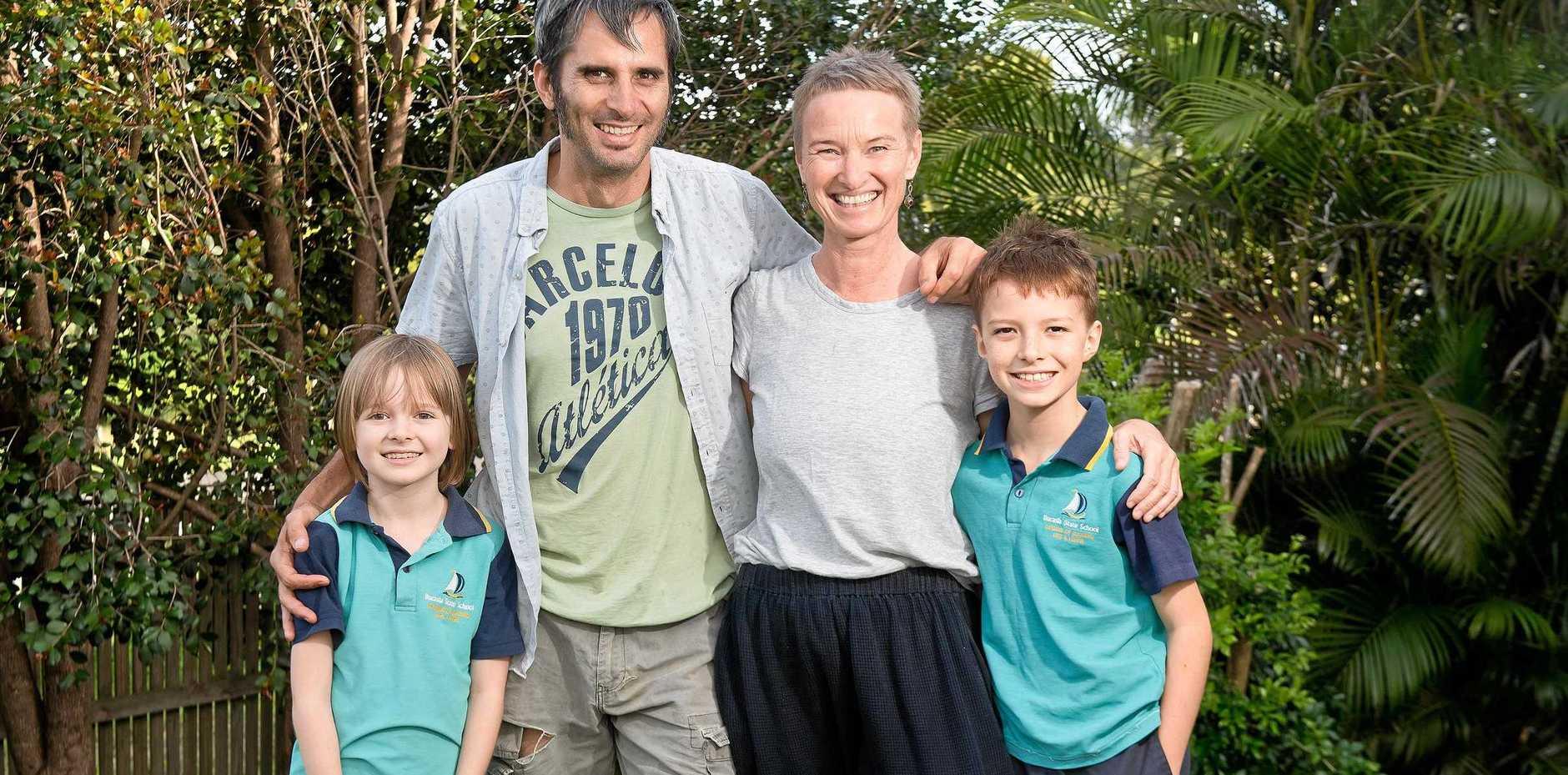 Eimeo residents Eden Wells, 9, Luke Lawrence, Sadie Wells, and Banjo Wells, 11.
