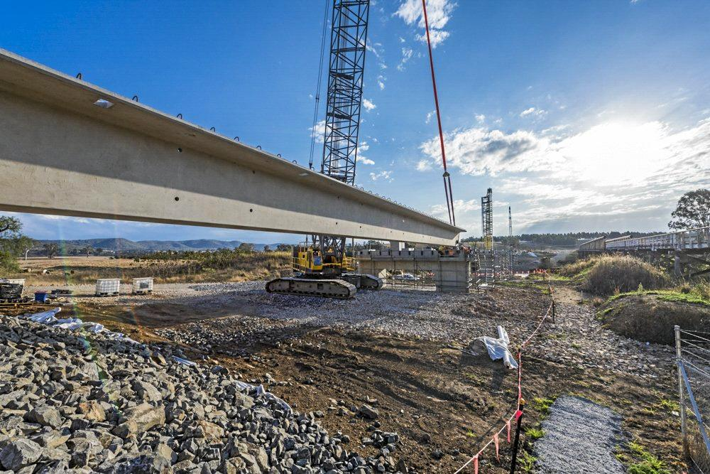 The first of 57 girders has been installed on the $48 million Tabulam bridge.