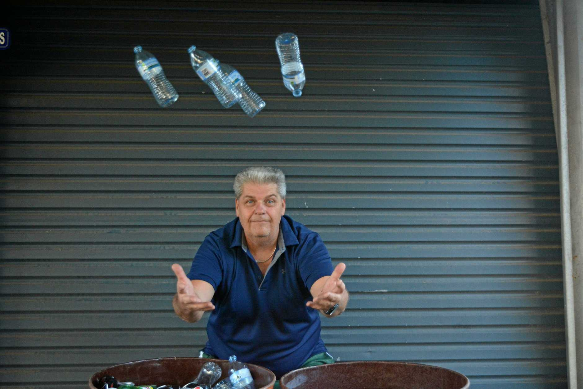 Peter Farrer collects bottles in his two 44 gallon drums and takes them down to the Laidley collection site every few months for a refund. He keeps a bin nearby so he can easily dispose of the lids.