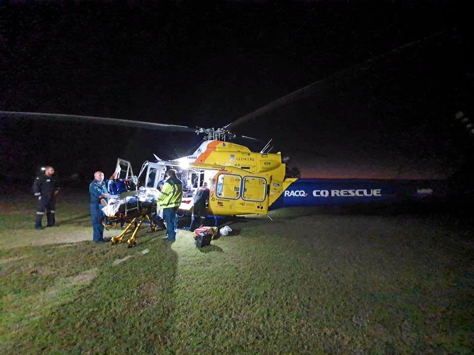 RACQ CQ Rescue Helicopter airlifted a man from St Lawrence after he was found bloodied near train tracks.