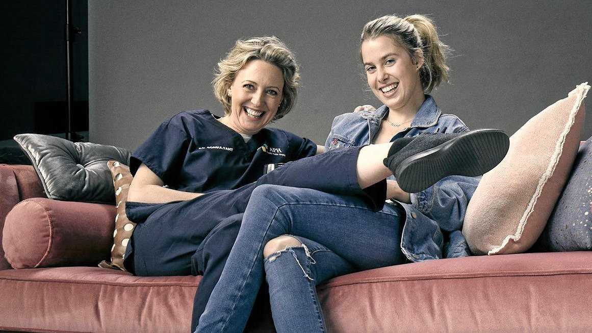 Roz Hammond and Bridie McKim star as Claudia and Sabine Rosso in the TV series The Heights. Supplied by ABC-TV.