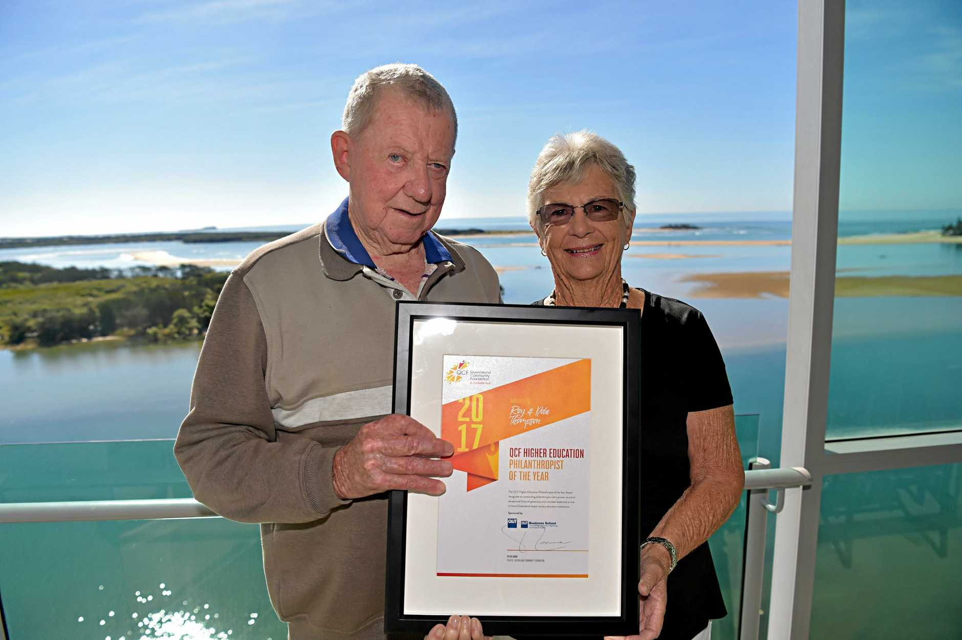 Nola and Roy Thompson have been given a philanthropic award due to their incredible generosity to the University of the Sunshine Coast.