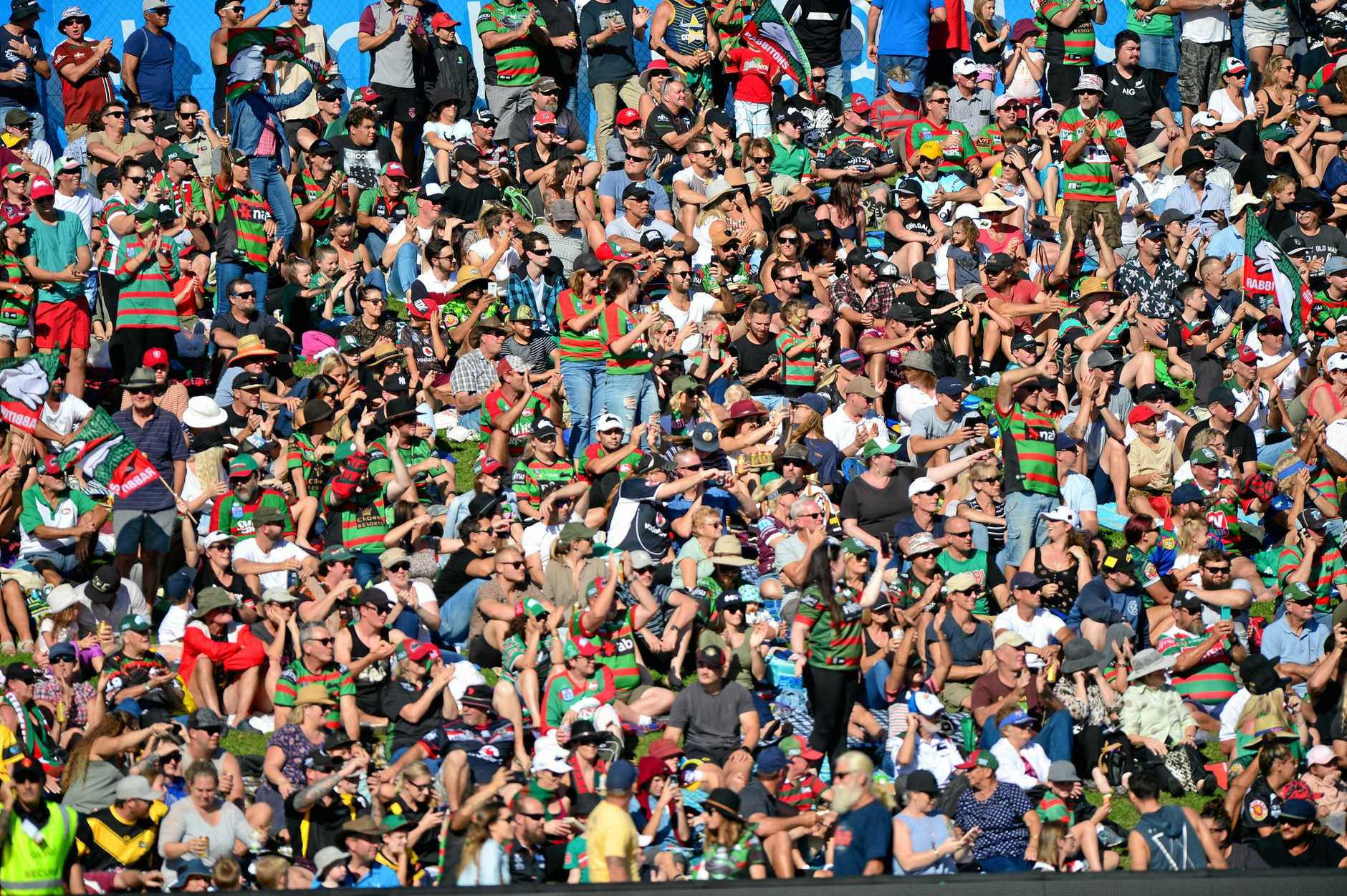 NRL action at Sunshine Coast Stadium between New Zealand Warriors and the South Sydney Rabbitohs in April. A record crowd of 11,912.