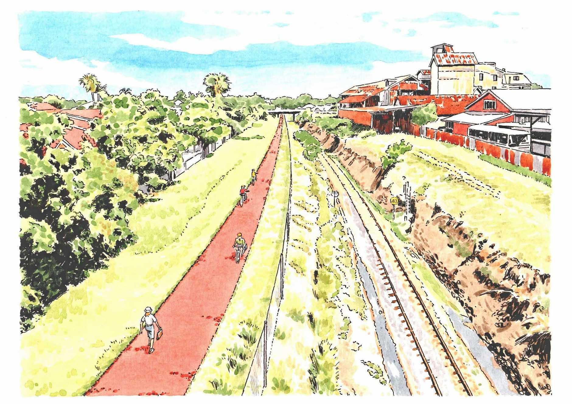 Artists impression of rail trail.