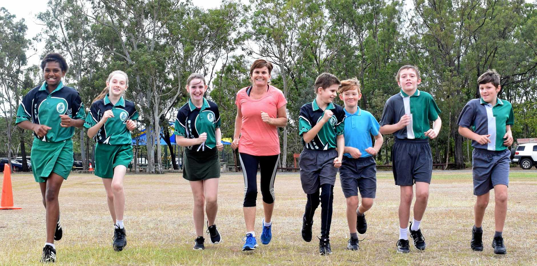 Dawn, Jemima, Ella, Anna Shaw, Griffen, Zackeriah, Blake and Ethan from Glenmore State School get ready for this weekend's River Run