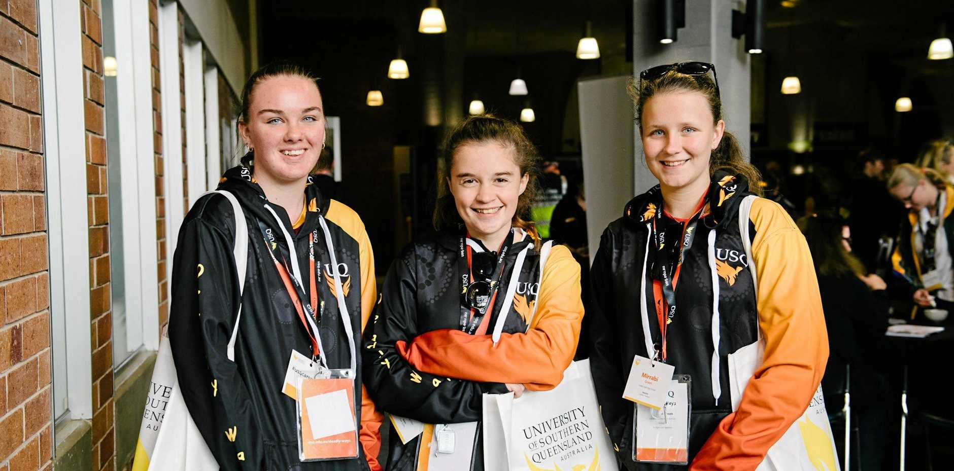 JOBS, JOBS, JOBS: Taking in the different options at the USQ 2019 Careers Day are Laidley state high school students (from left) Nicole Abel, Kalinda Davis and Mirrabi Green.