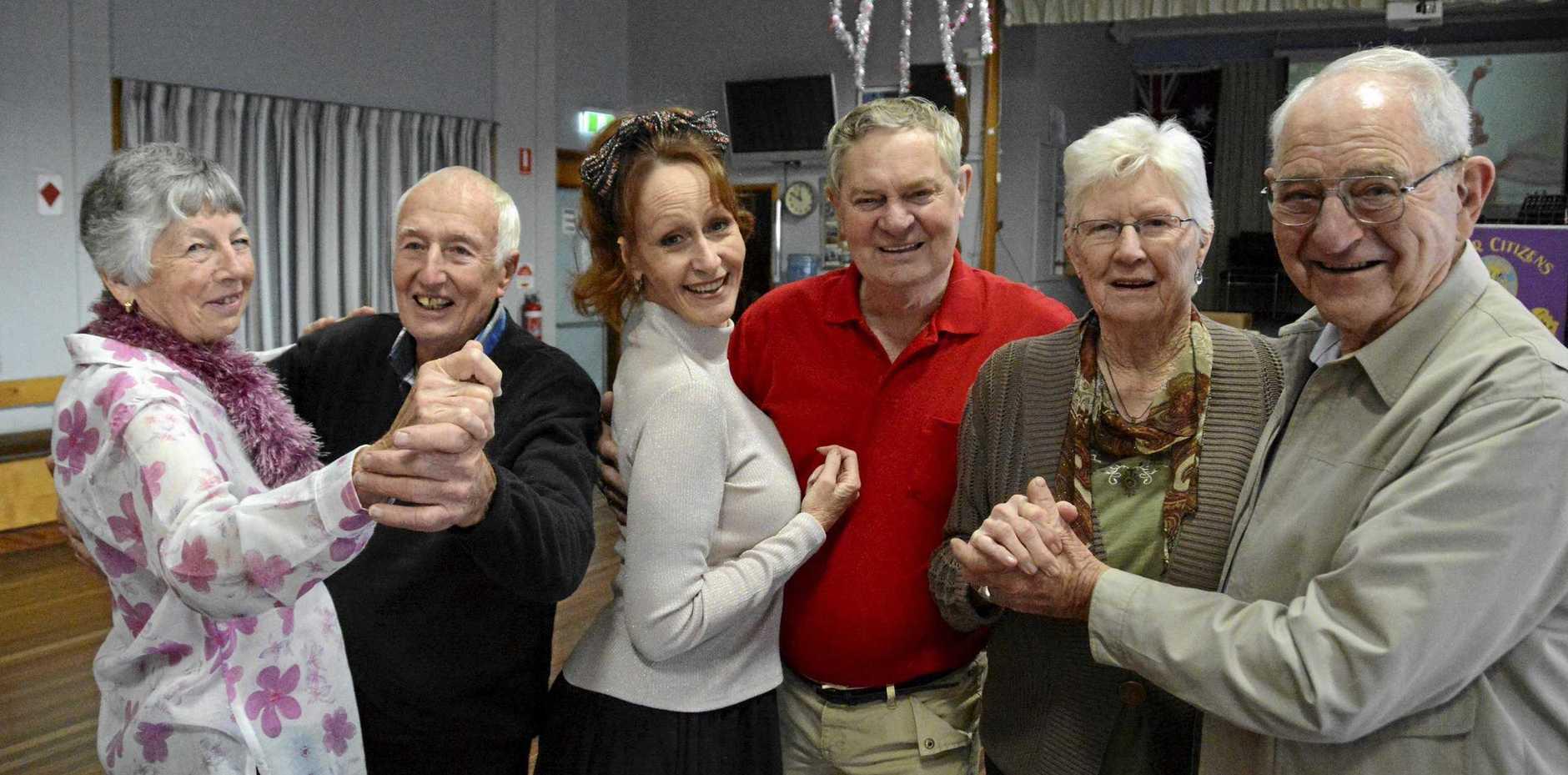 TOGETHER IN TUNE: Toowoomba Senior Citizens Club dancers (from left) Grace Atfield, John Jewell, Miranda Williams, Jim Hudson, Noella Edmondstone, Jim Nelson.