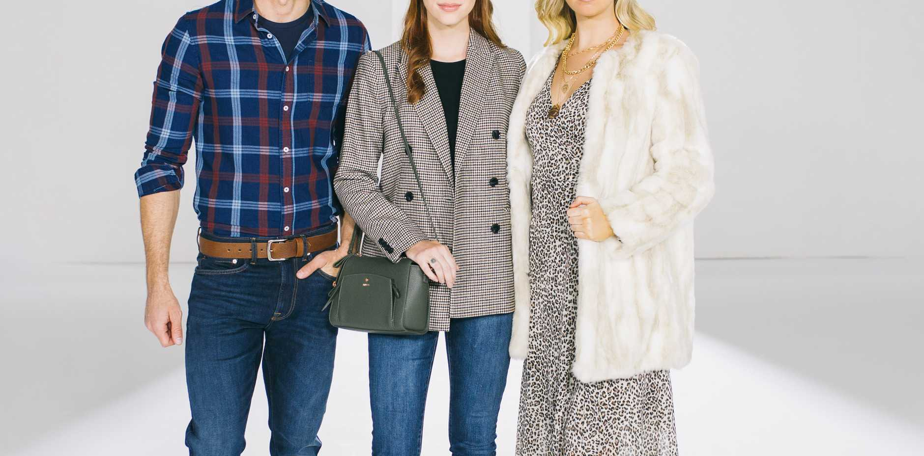 WHAT TO WEAR: Dressed for winter are (from left) Eamonn Katter wearing an outfit from Just Jeans with Country Road boots, Emma Sparks wears Witchery with a MIMCO bag, and Chelsea Johnston showcases a Dissh dress, Piper Jacket, Midas boots and Eyecare Plus sunglasses.