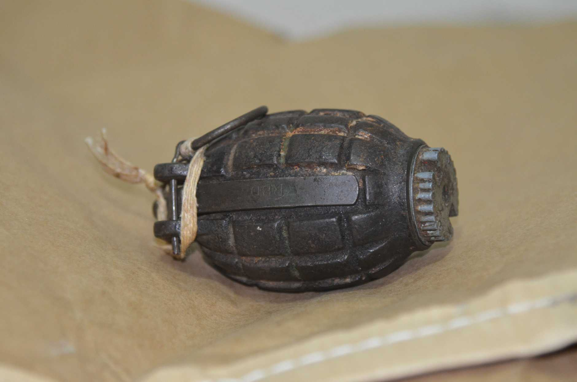 A grenade similar to that found in the Mary River this week.