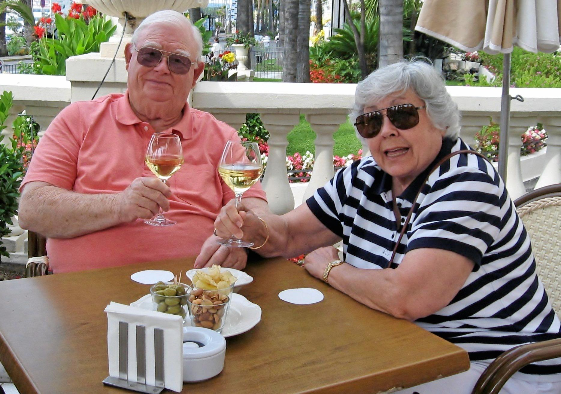 CHEERS: Michael and Audrey Brown celebrating their 60th wedding anniversary in Carnne.