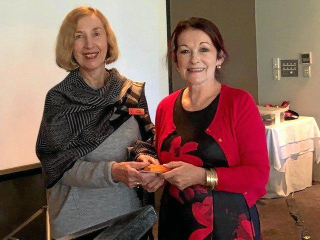 GIVING THANKS: Jenny Carter from Chapel Hill VIEW club (left) thanks the club's June guest speaker, Liz Jeffs.
