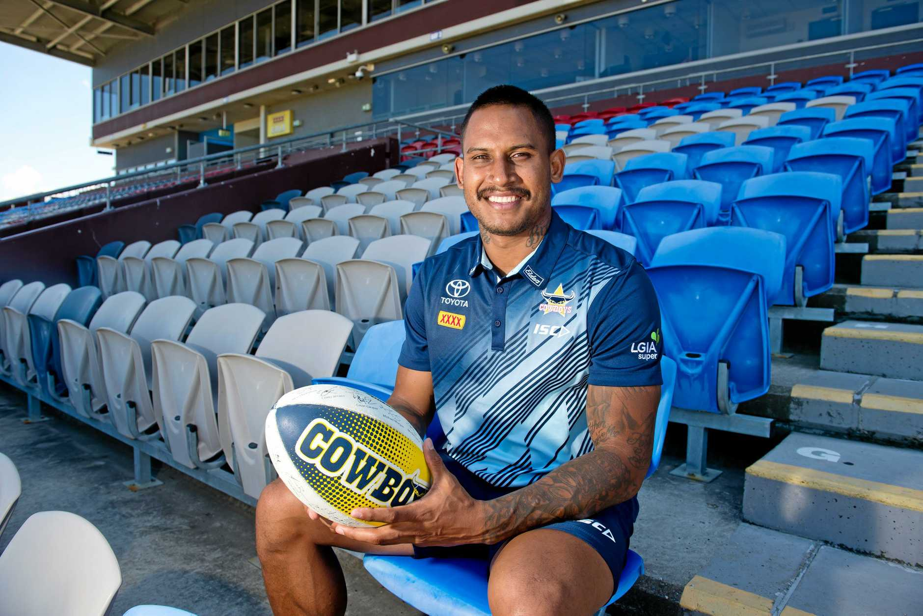 Ben Barba at at BB Print Stadium on Wednesday November 7 after the announcement that Mackay will host a trial game between the Cowboys and Melbourne Storm in 2019.
