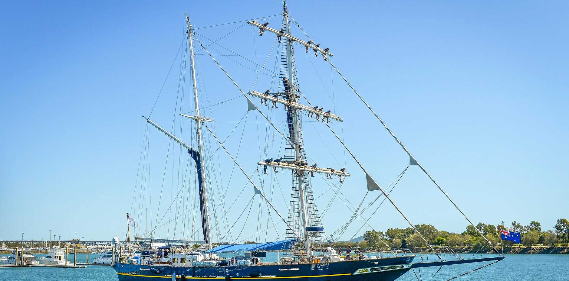 ANCHORS AWAY: The  Young Endeavour will be making port in Gladstone Marina next week.