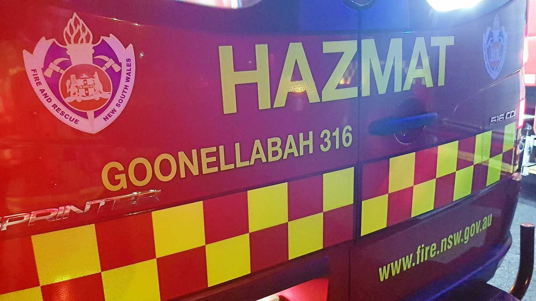 FUEL TANK BURST: Fire & Rescue Goonellabah's Hazmat unit is with other emergency services at the scene of of a B-double tank rupture on the Pacific Hwy on Thursday morning.