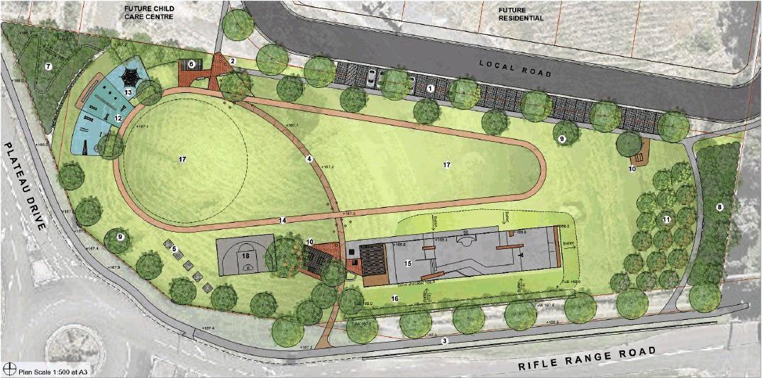 A concept design for the Plateau Drive district park, which includes a skate park.