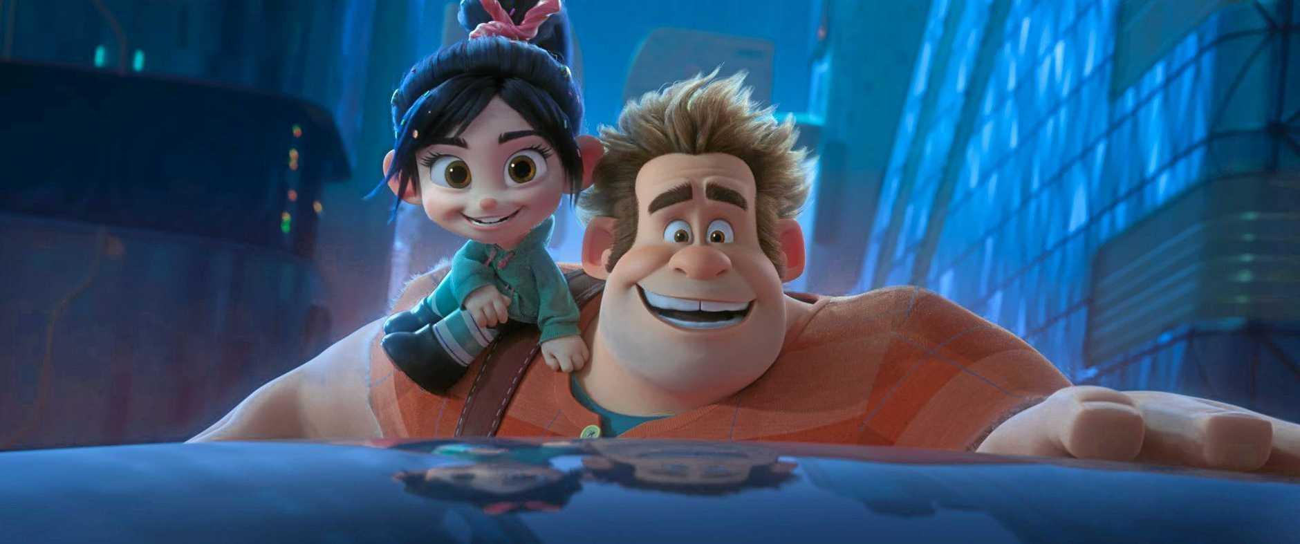 The characters Ralph (John C. Reilly) and Vanellope (Sarah Silverman) in a scene from the movie Ralph Breaks the Internet. Supplied by Disney.