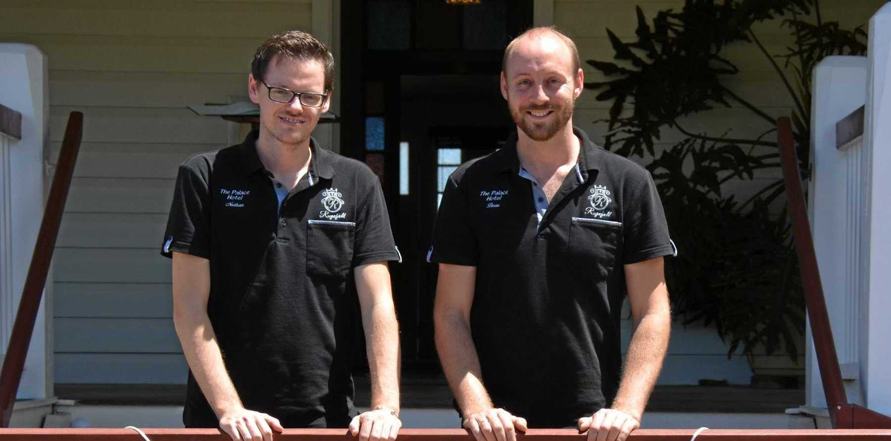 HARD AT WORK: Nathan Hendy and Beau Smith are thrilled to be taking over the Palace Hotel's restaurant.