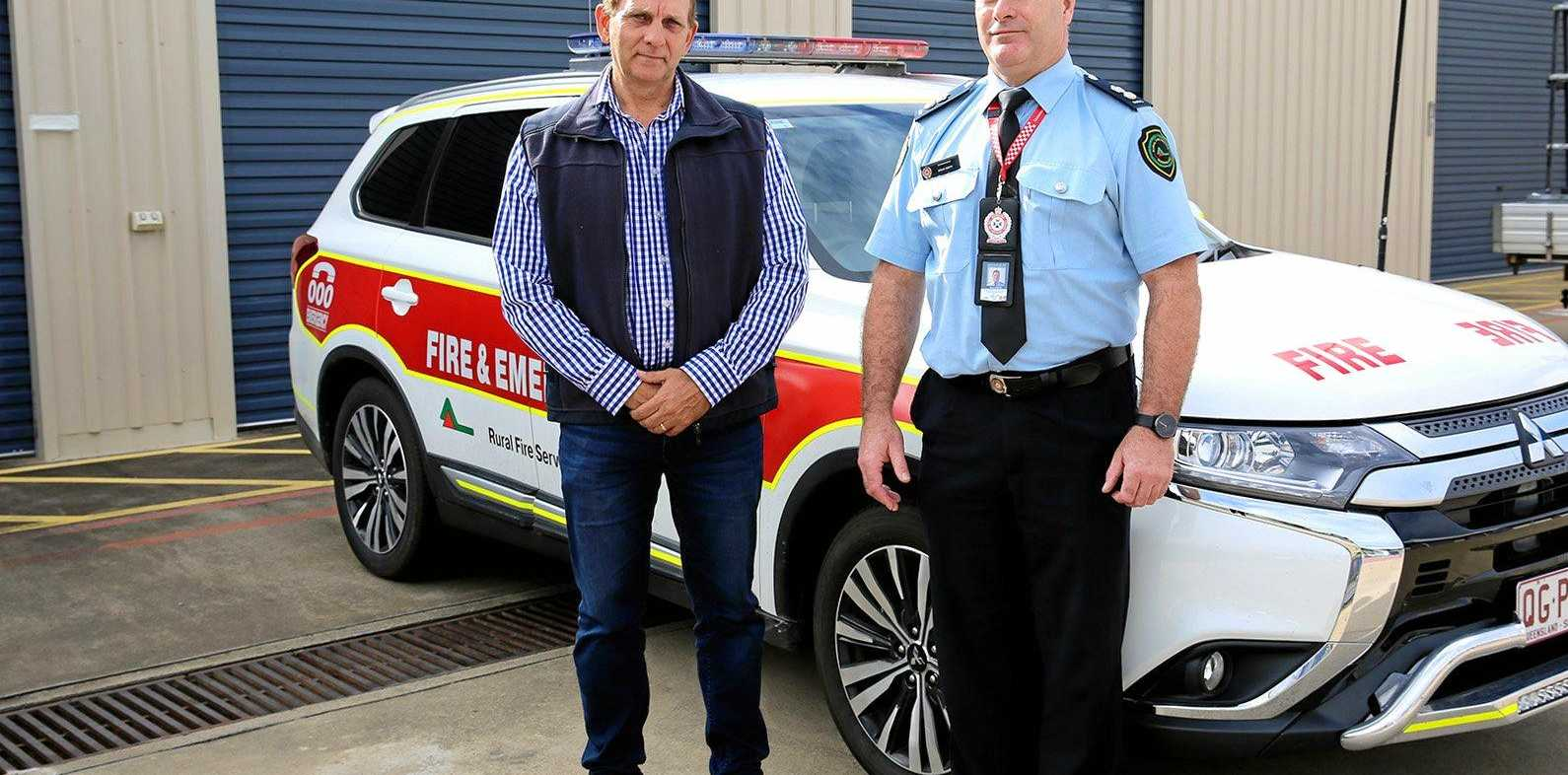 PREPARE NOW: Councillor Tony Williams and Rural Fire Service regional manager Brian Smith.