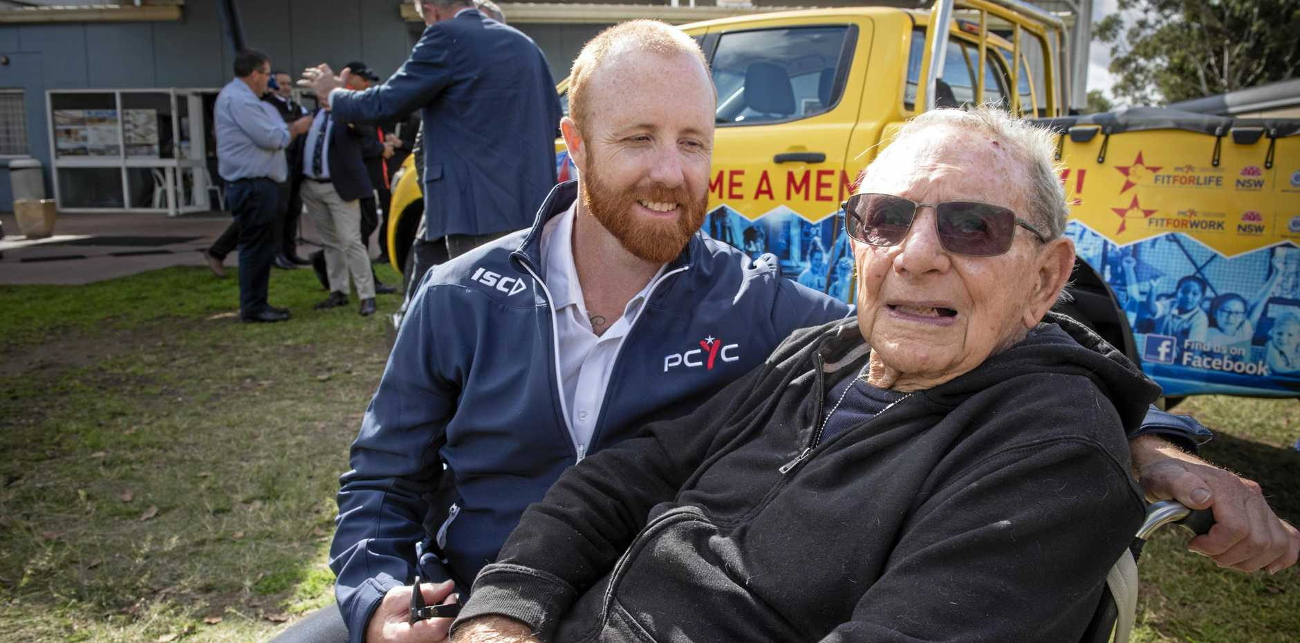 ON TRACK: PCYC   manager Tyson Donohoe with his grandfather, former Australian rugby league rep Rees Duncan.