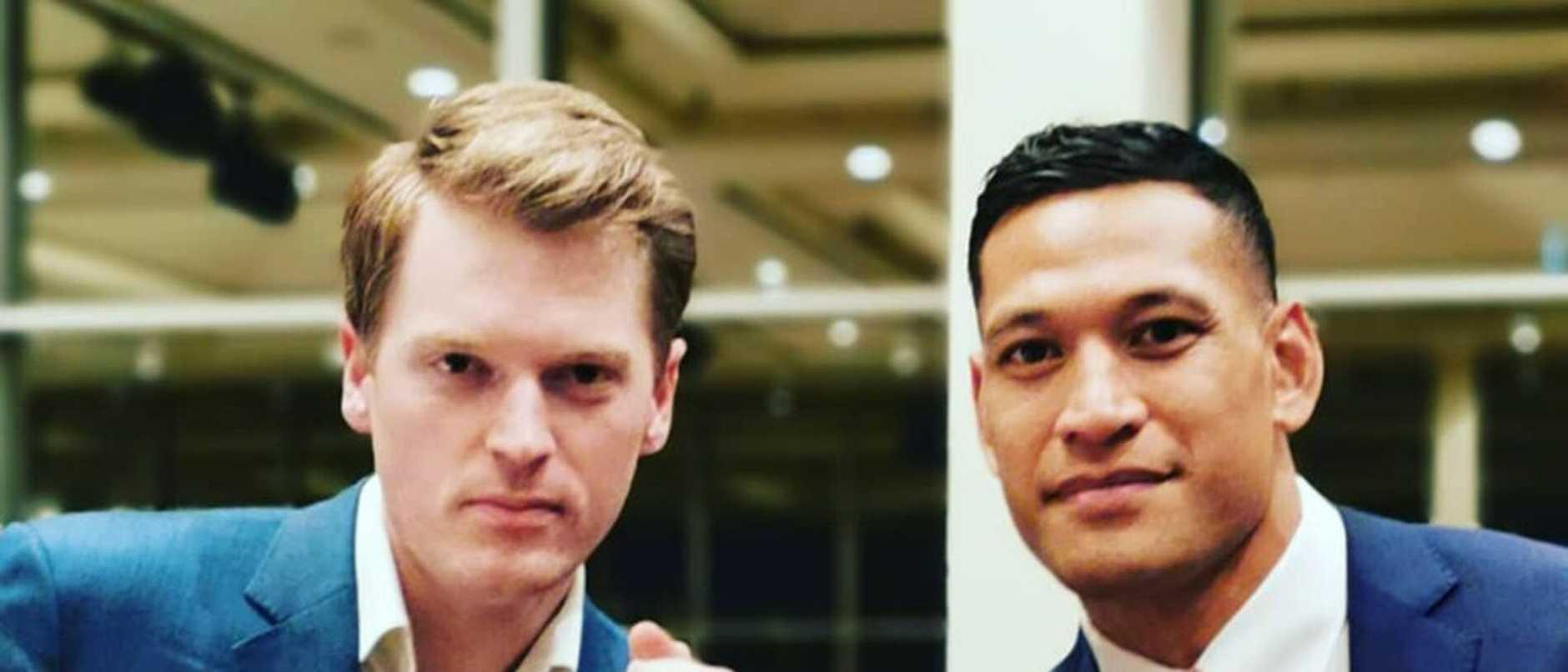 Israel Folau with Australian Christian Lobby director Martyn Isles.