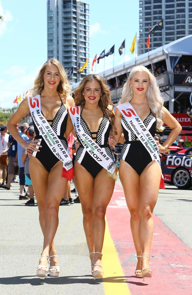 Miss Supercars 2017, Nicole Hall from Brisbane, winner Sophie Budack from Darwin and Michaela Arnott from Nerang. Picture: Glenn Hampson.
