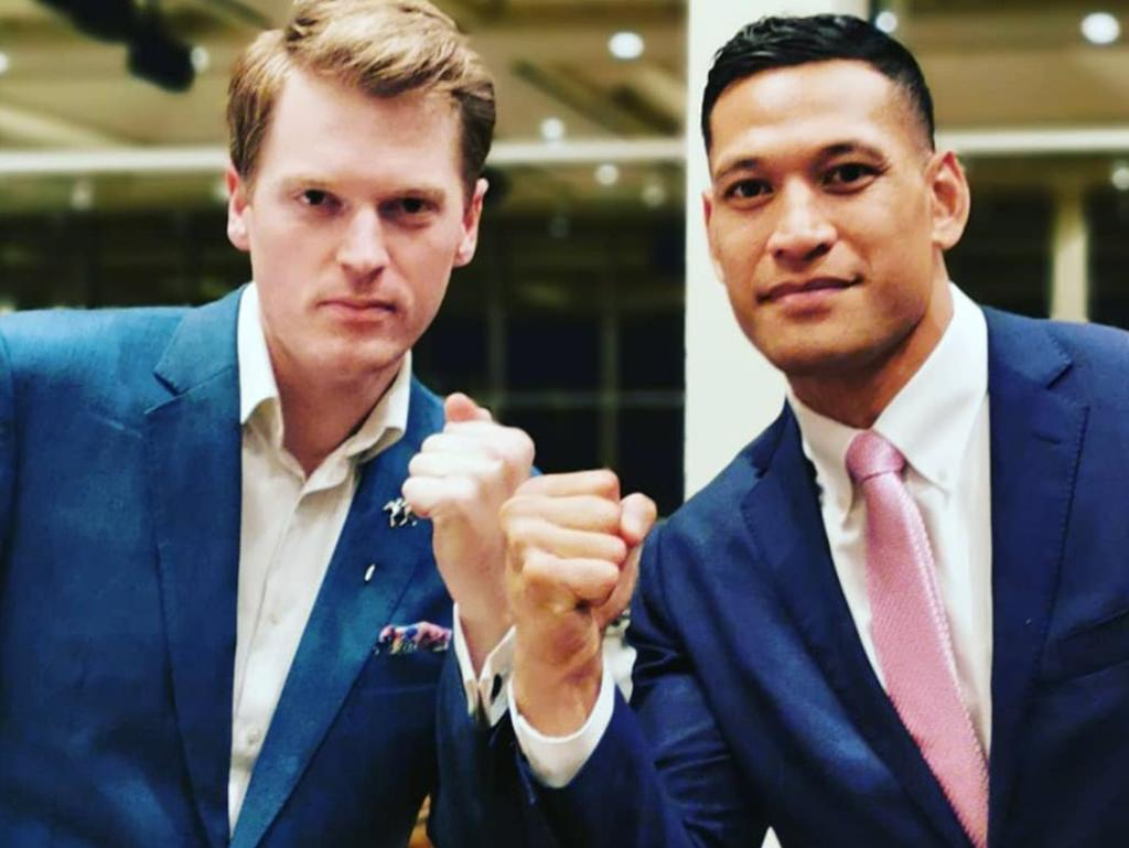Israel Folau with Australian Christian Lobby managing director Martyn Iles. Picture: Facebook