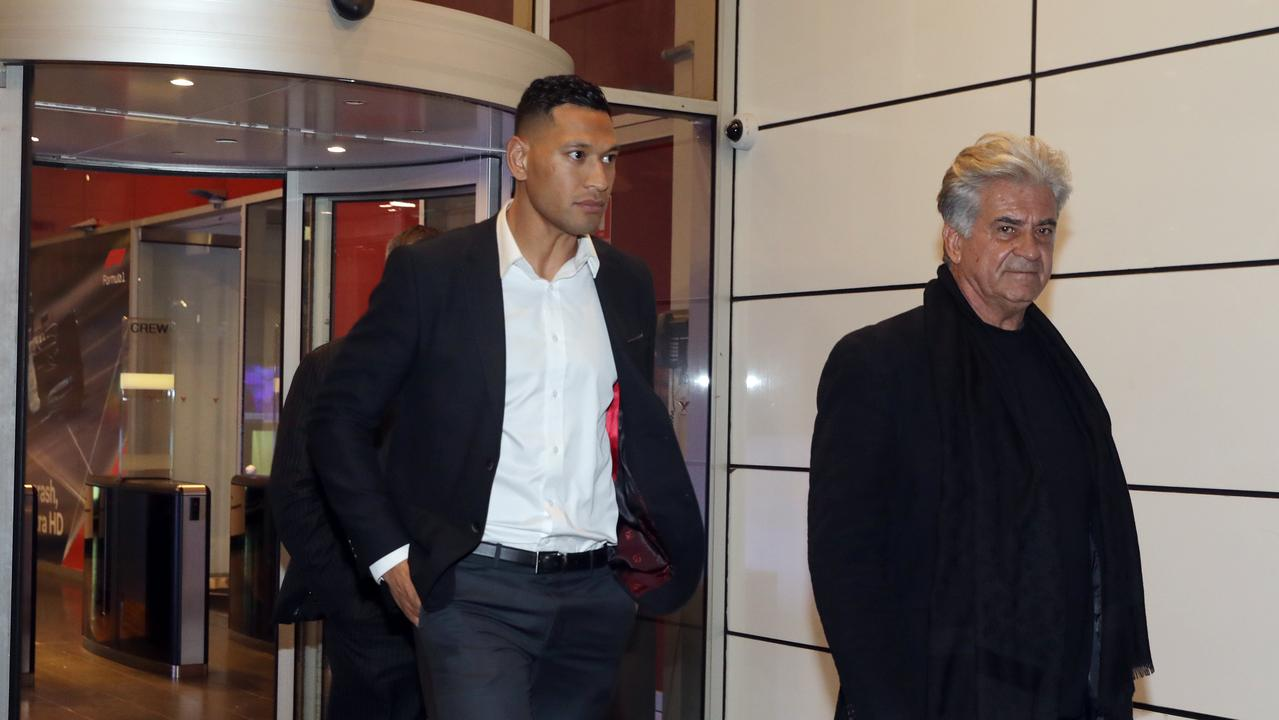 Israel Folau pictured leaving the Foxtel Headquarters in Macquarie Park. Picture: Christian Gilles