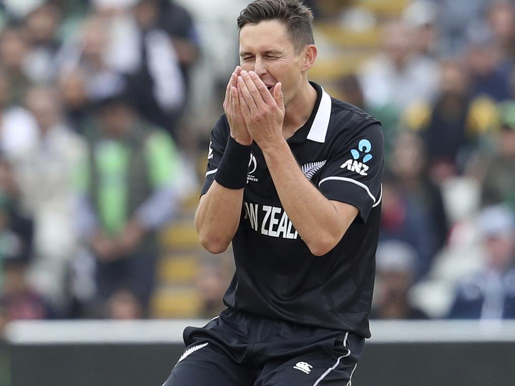 Trent Boult after his delivery flirted with an edge.