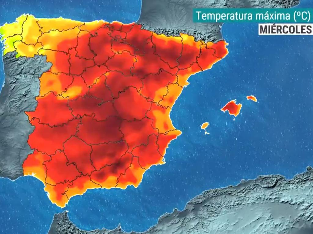 Spanish forecaster Silvia Laplana tweeted a picture of an all-red weather map captioned: