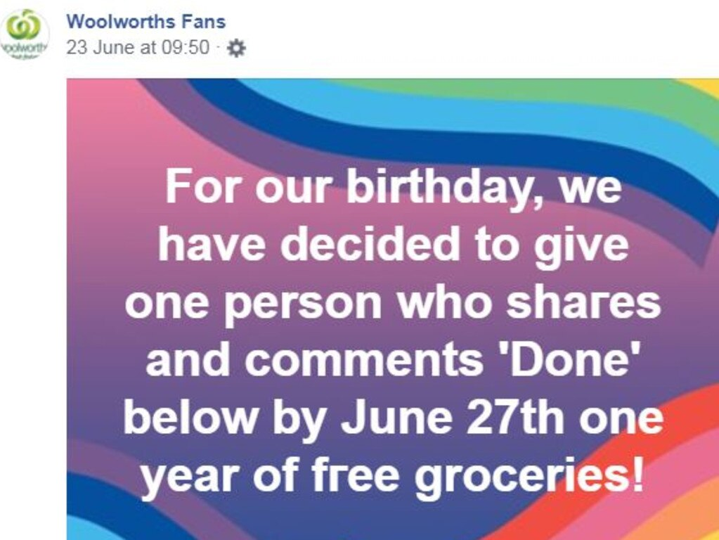 Thousands of people comment on posts like this in the hope of winning free groceries. Picture: Woolworths Fans/Facebook