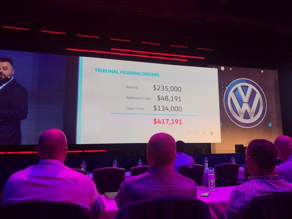 The Morphy case referenced at the Volkswagen Customer Experience conference in Brisbane in February 2019. Picture: Supplied