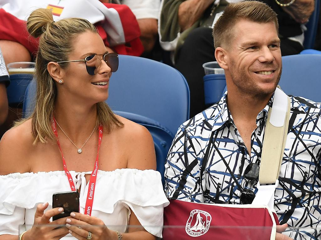 Australian cricketer David Warner and wife Candice at the Australian Open in Melbourne.