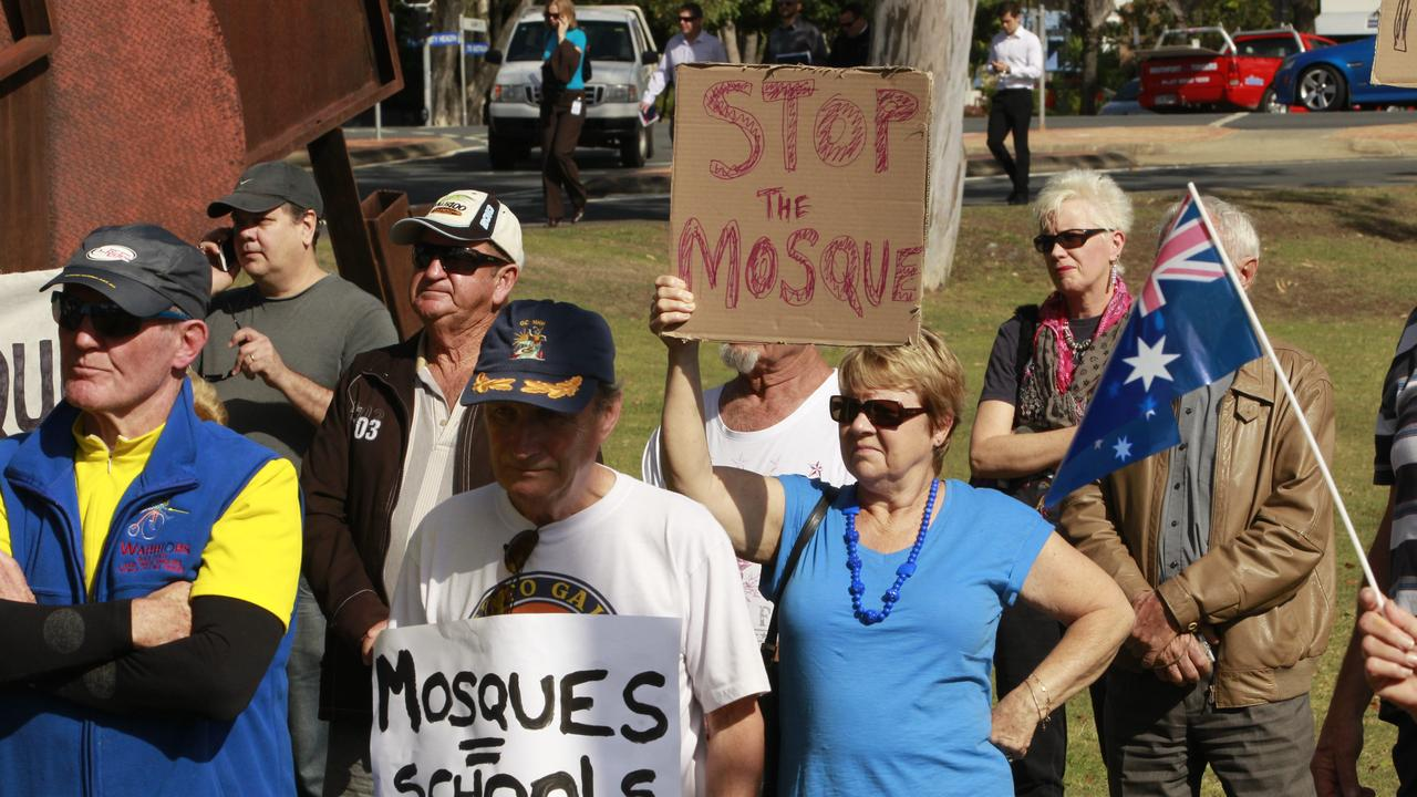 In 2014, protesters gathered at the Gold Coast Council Chambers, Evandale to protest against the Currumbin Mosque. Photo: Kit Wise