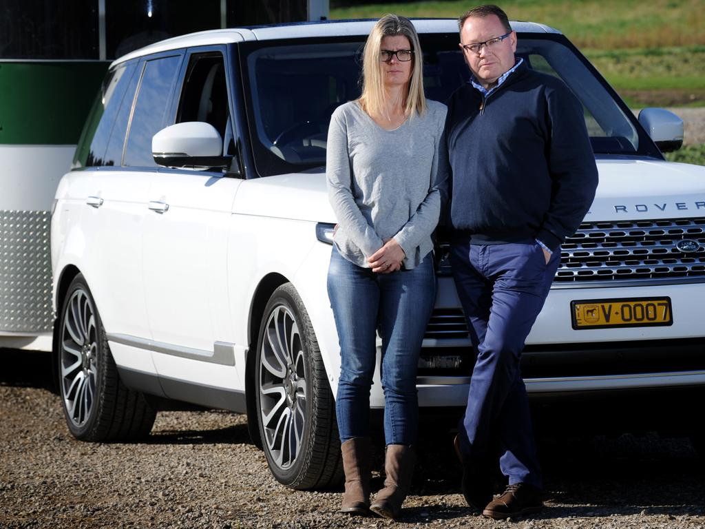 James and Sally Morphy of Barrabool in Victoria with the 2016 Range Rover they purchased for $260,000 and which has had serious mechanical problems. Picture: Andrew Henshaw