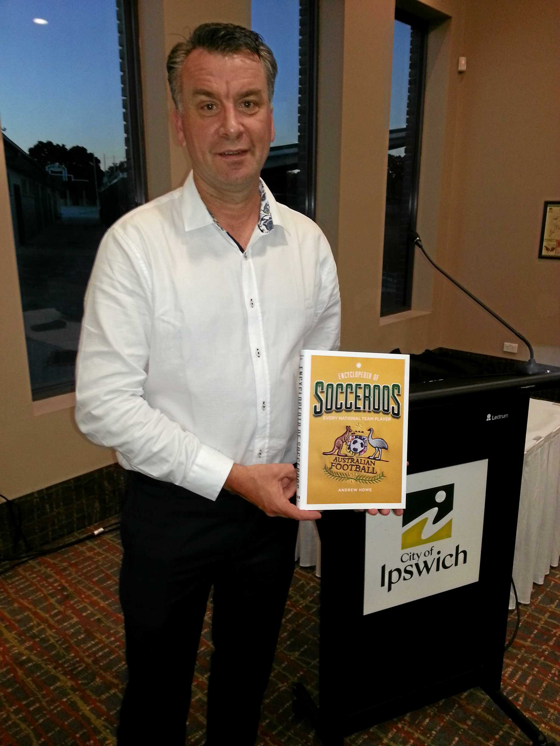 Encyclopedia of Socceroos author Andrew Howe at the launch of his book in Ipswich.