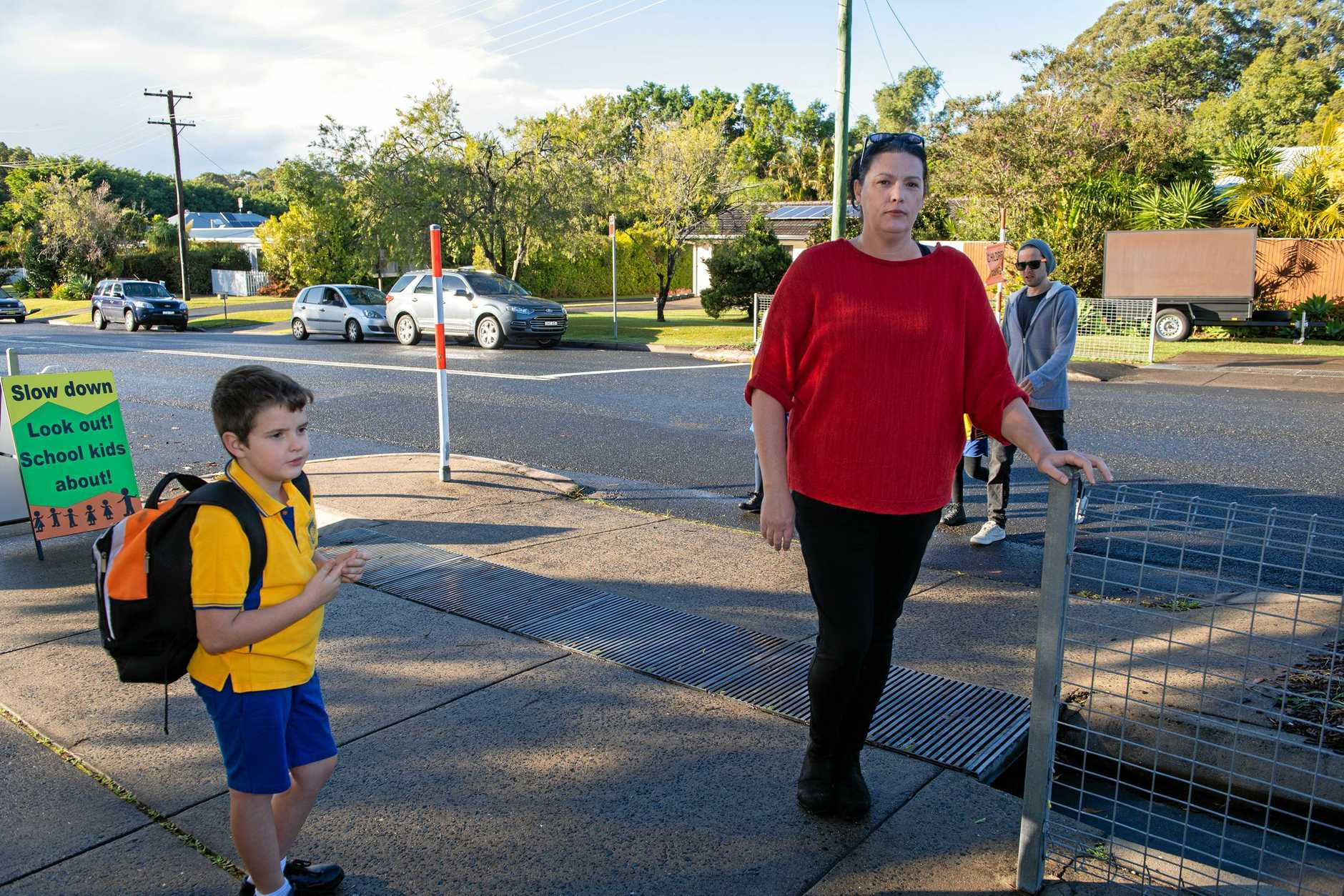 Parents want better saftey at Boambee Pulic School, road crossing. P&C member Emma Lane with her son Jake. 27 JUNE 2019