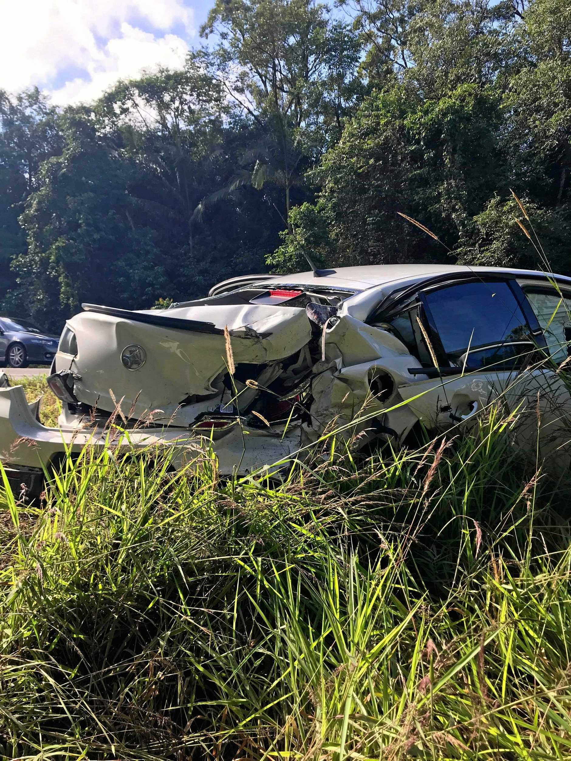 Llew O'Brien was travelling in this car when it was hit from behind on Sunshine Motorway.