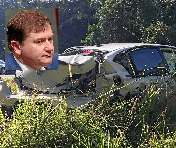 MIRACLE ESCAPE: Wide Bay MP Llew O'Brien was involved in a serious crash on a Sunshine Coast motorway yesterday. (The car he was in is pictured).
