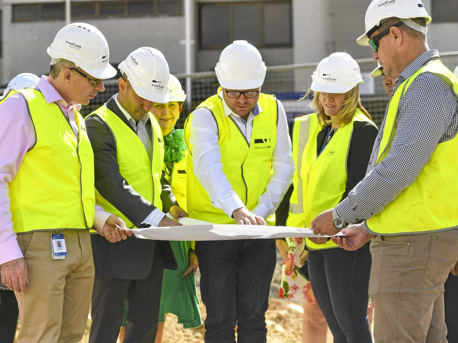 Central Queensland Hospital and Health Service chief executive Steve Williamson, board member of CQ hospital and health service PJ Sobhanian, project manager Jason Mulcahy, board member Tina Zawila and regional manager Clinton Bloomfield updates media on the upgrades to Gladstone's new emergency department.