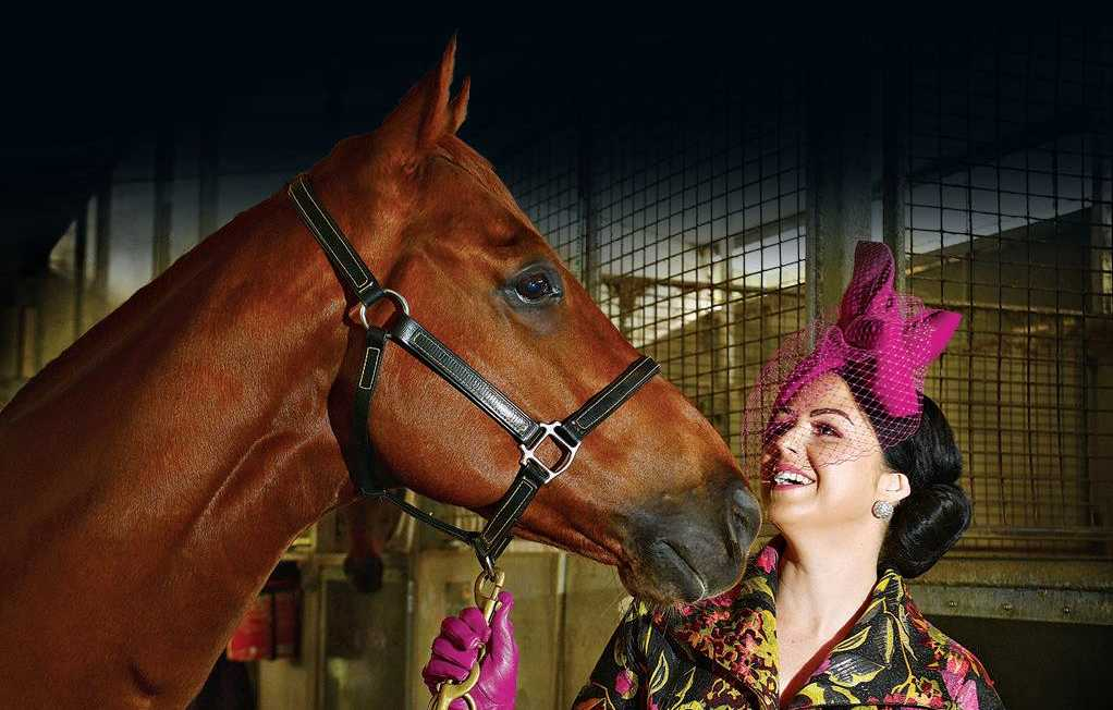FASHIONISTA: Krystle Kirk, prepared for the Caloundra Cup Race Day, with 'Rolf'.