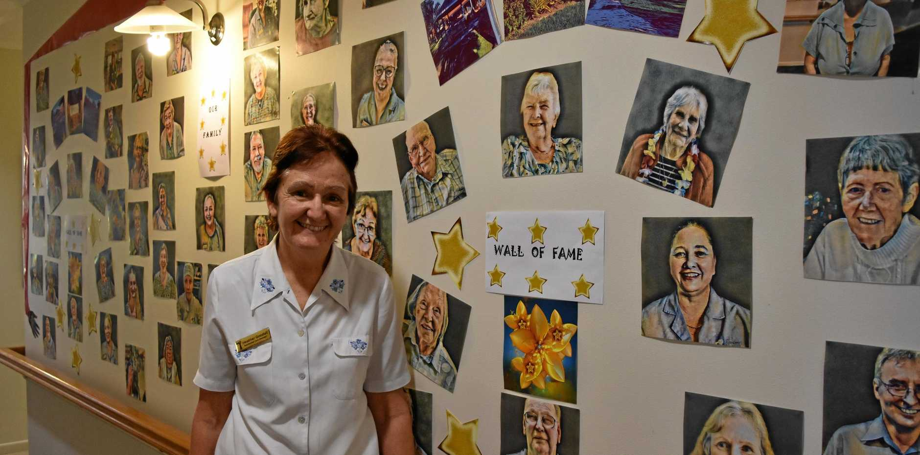 RETIREMENT: Heather Goodall said good-bye yesterday to her work family, including staff and the 20 guests she has helped look after in her role as residential care manager at Tin Can Bay's only aged care facility, residency by Dillons.