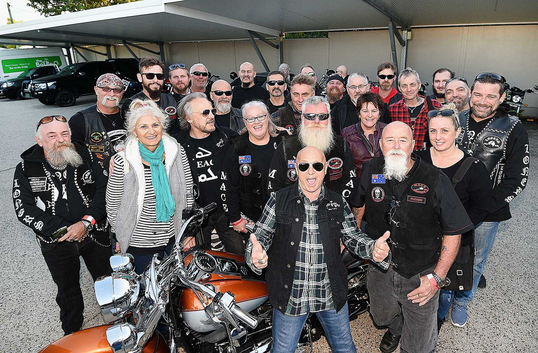 READY TO ROCK: Angry Anderson with motorcycle club members from MACE, Independent Riders and Loners Social Motorcycle Club before performing at the Beach House Hotel. He was helping the groups promote a great cause