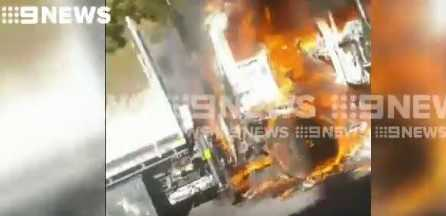 Two people have died and a vehicle caught fire during a crash on the M1 at West Wollongong Picture: 9 News Sydney