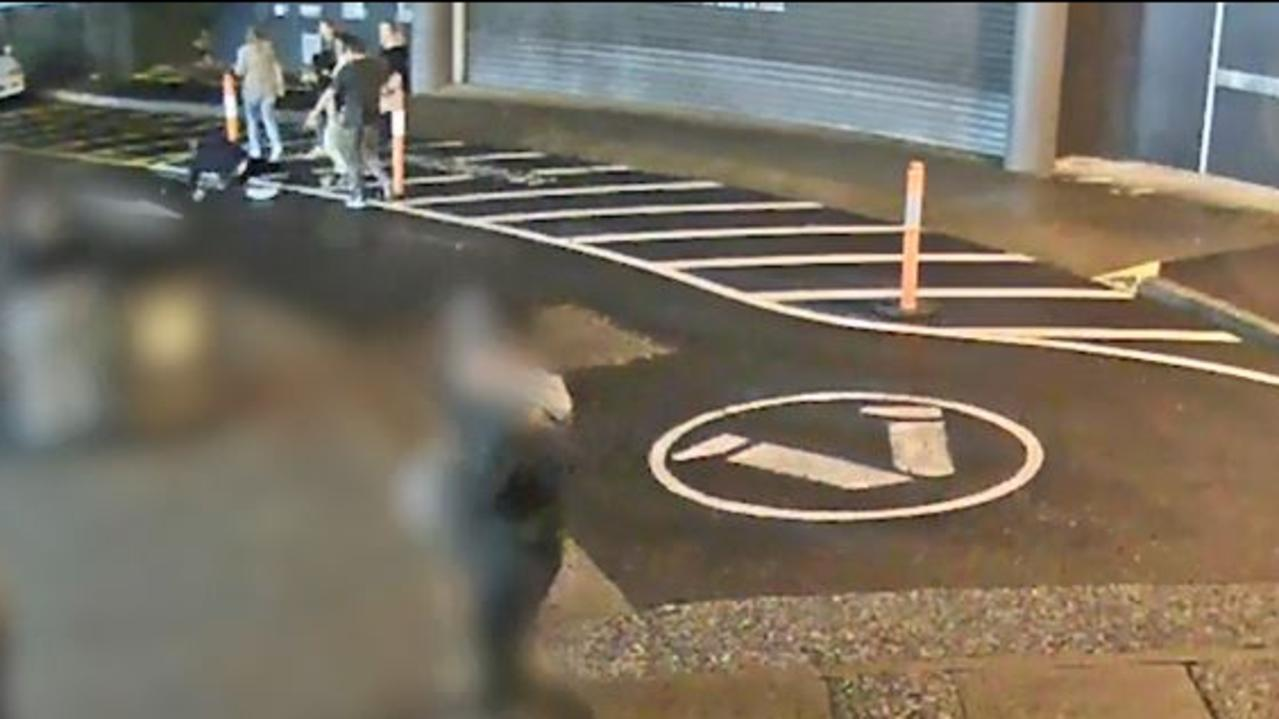 The victim hit the ground after the attack. Picture: NSW Police