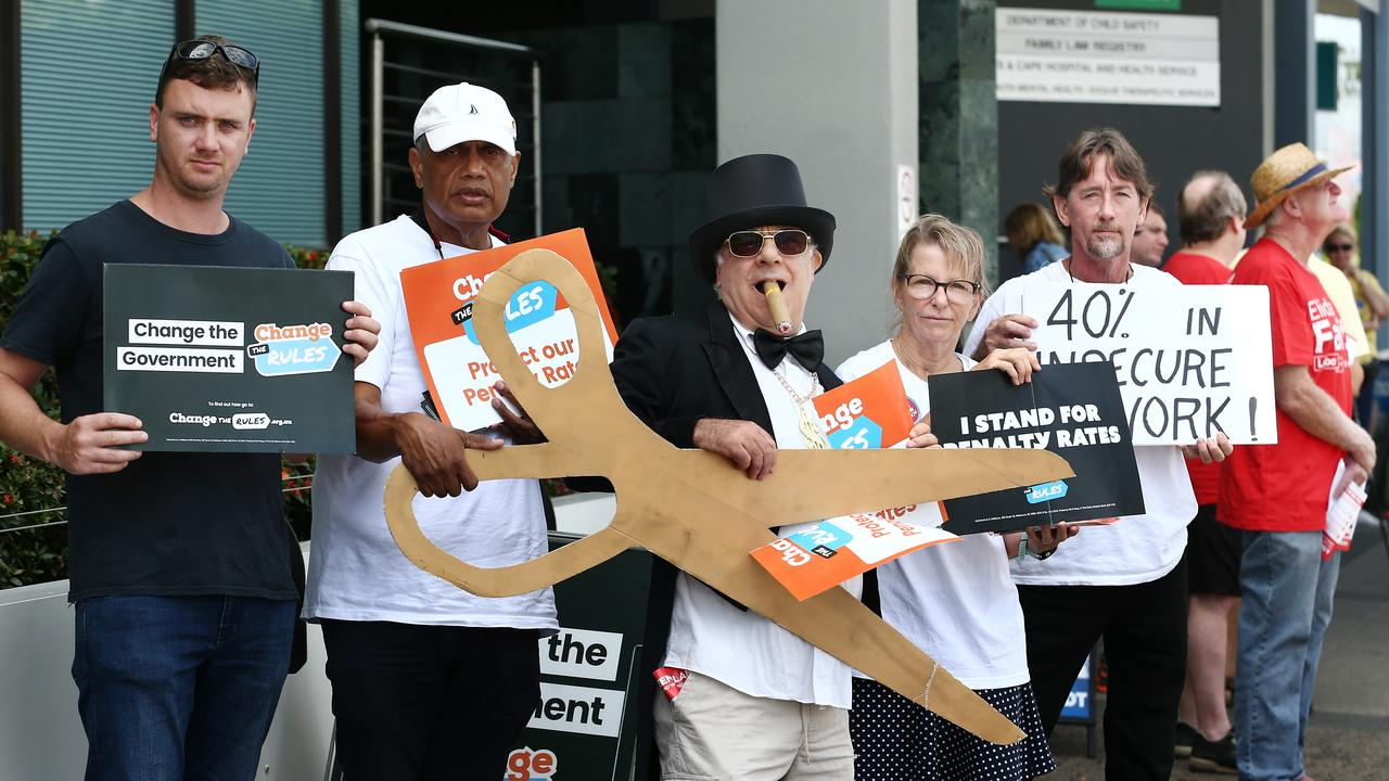 Protesters take a stand against the penalty rates cut that will come into effect from Monday. Picture: Brendan Radke/News Corp Australia