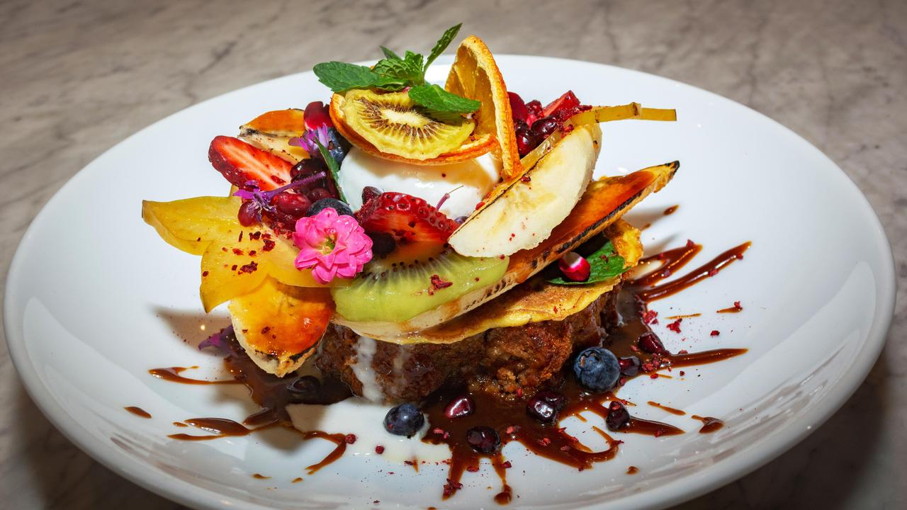French Toast, fruits and edible flowers served at Caffiend cafe, Grafton Street. Picture: Brendan Radke