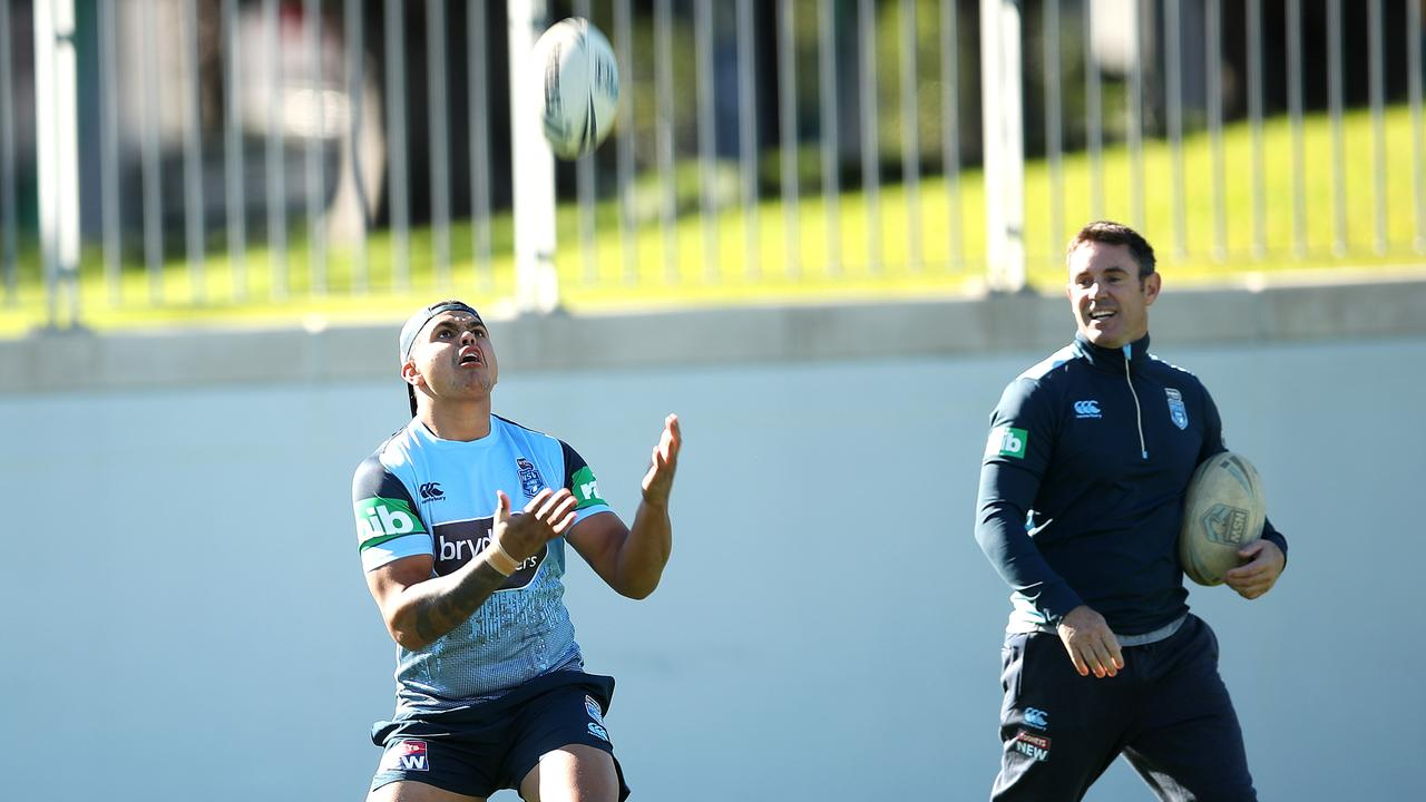 Latrell Mitchell with coach Brad Fittler in NSW training ahead of Origin I. Picture: Phil Hillyard