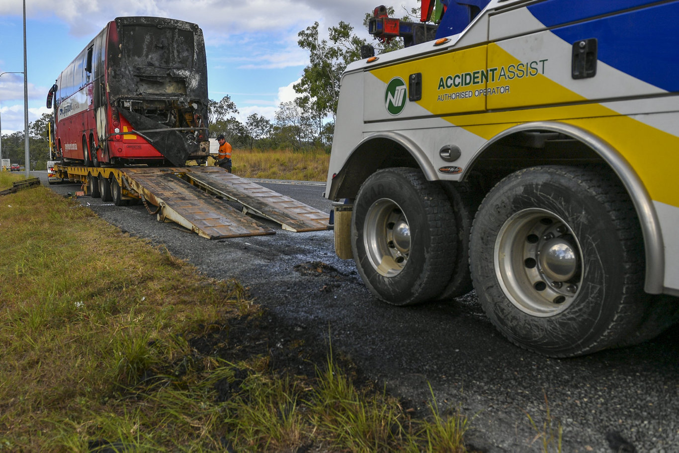 Photos of a Greyhound Australia bus on the Bruce Highway have highlighted the lucky escape of 16 passengers near Calliope crossroads in the early hours of Saturday morning.